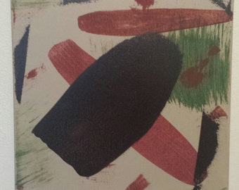 Original Modern Art Abstract Acrlyic Painting on Small Stretched Canvas, Green/Red/Brown/Tan