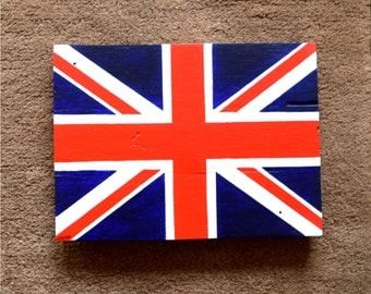 Handmade Reclaimed Pallet Sign Union Jack GB Flag Theme Hand Painted Wood Craft