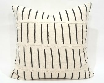 "20"" Cream african mudcloth pillow cover"