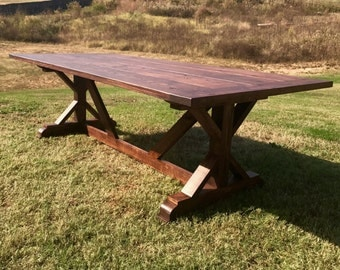 Farmhouse Table | Dining Table | Solid Wood Table | Harvest X Style Table