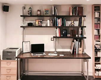 Dark Scaffold Board with galvanised pipework shelving and desk unit, bookcase, industrial shelves, reclaimed wood shelves, pipe shelves