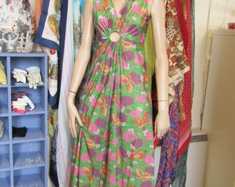 Green Patterned Maxi Dress with Cut Out Detail - Size 12