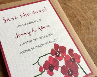 Orchid save the date card - sample