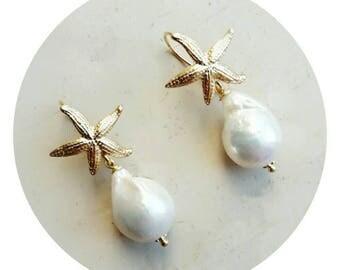Beach jewelry, bride earrings, starfish earrings, gold earrings, pearls earrings, earrings for sensitive ears, wedding earrings, bridesmaid