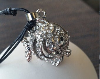 Diamonte Fish Diffuser Locket Necklace