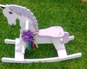 WOODEN ROCKING HORSE- Lavendar/Teal paint