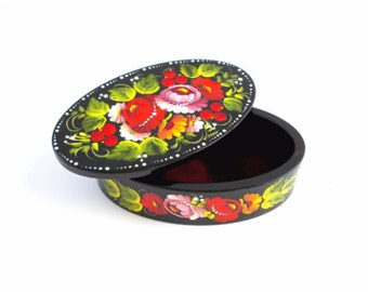 Jewelry wooden box Gift for her hand painted wedding ring box wife gift best friend girlfriend gift unique gift idea romantic gift mom peony