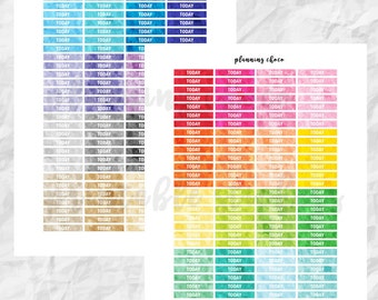 Watercolor TODAY headers / colorful basic functional  printable planner stickers, pdf, jpg