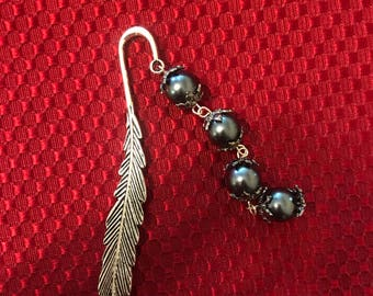 Black Pearl Feather Book Mark