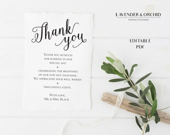 Elegant thank you card, Printable thank you template, Thank you Instant download, Editable PDF, DIY Wedding card, Elegant thank you card