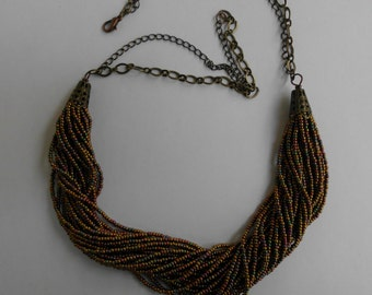 Multi strand beaded necklace, seed bead necklace, rope style necklace, brown gold tone necklace,