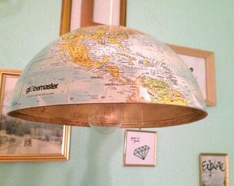 Vintage Globe World Hemisphere Light Pendant with golden inside, comes with a white light pendant