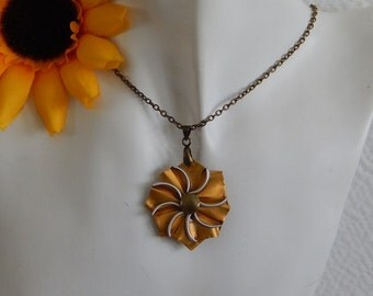 Bronze chain necklace with pendant Golden form capsule Edelweiss