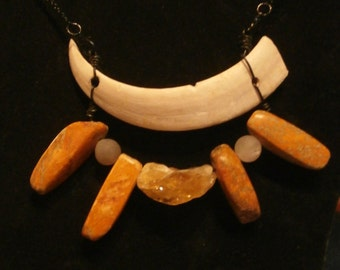 Wild boar Tusk with Citrine and Jasper