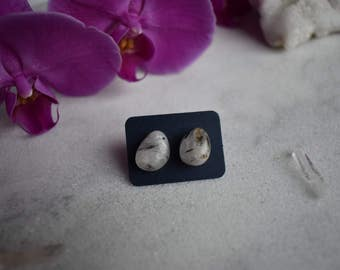 Tourmalinated Quartz Stud Earrings