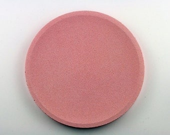 Round top in pink concrete / / empty Pocket concrete / / decorative concrete tray / / concrete tray / / cast-iron serving tray