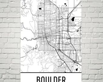 Boulder CO Map, Boulder Art, Boulder Print, Boulder Colorado Art Poster, Boulder Wall Art, Boulder Gift, Boulder Decor, Modern