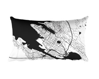 Bergen Pillow, Bergen Decor, Bergen Cushion, Bergen Throw Pillow, Bergen Gift, Bergen Throw, Bergen Norway Map, Bergen Art, Bergen, Map Art