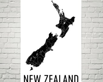 New Zealand Map, Map of New Zealand, New Zealand Art, New Zealand Print, Norway Wall Art, New Zealand Poster, Kiwi Gifts, Kiwi Decor