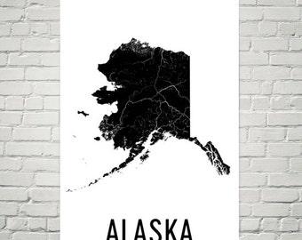Alaska Art, Alaska Map, Alaska Print, Alaska Wall Art, Alaska Sign, Alaska Gifts, Alaska Decor, Alaska Poster, Map of Alaska, Alaska Home