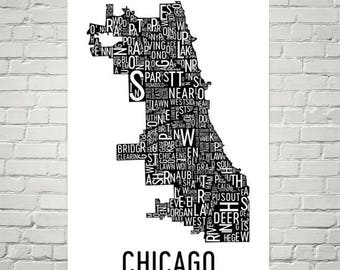 Chicago Typography Neighborhood Map Art City Print, Chicago Wall Art, Chicago Art Poster, Gift, Map of Chicago, Chicago Artwork, Illinois