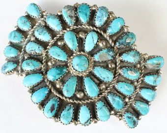 Turquoise Hair Barrette Clip Sterling Silver Navajo Native American Indian
