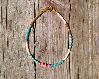 thin & tender hippie bracelet in pink and turquoise, gold plated