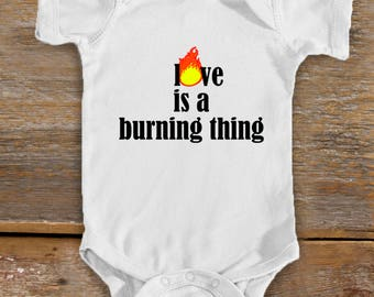 Love Is A Burning Thing Baby Bodysuit | Country Baby Clothing | Johnny Cash Baby Clothing | Cute Baby Shower Gift | Johnny Cash T-shirt