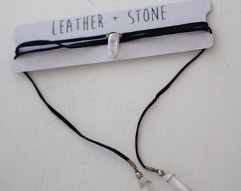 Crystal Leather Wrap necklace-black