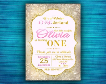Winter Onederland Invitation-Winter Onederland Birthday-Onederland Invitation- Pink and Gold Winter ONEderland, Pink and Gold, Snowflakes