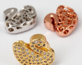 Swan Micro Pave Bead / CZ Bead / Clear Cubic Zirconia head beads,Bracelet Charms, gold/silver/rosegold plated,14mm,1pc