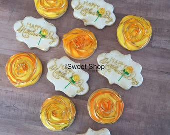 Yellow Rosette Iced Sugar Cookies