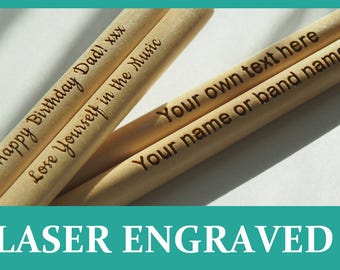 Personalised drum sticks 5A, high quality maple wood, great gift, laser engraved