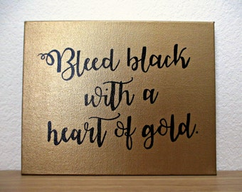 Heart of Gold Handpainted Quote Canvas