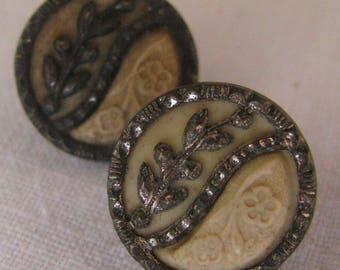 Two Matching Antique Celluloid Metal Buttons Flower Vine Design