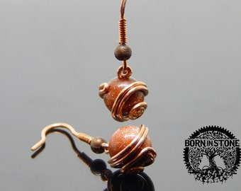Wire wrapped earrings Magic earrings Steampunk earrings Copper earrings Aventurine earrings Wire wrap Gemstone earrings Best gift For her