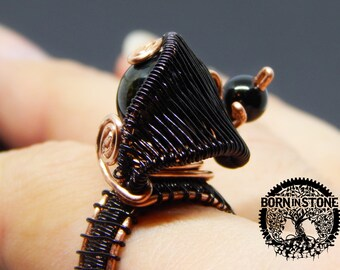 Wire wrapped ring Tiger eye ring Gemstone ring Agate ring Copper ring Steampunk ring Wire wrap Boho ring Magic ring For her For mother