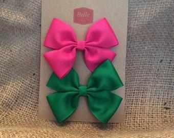 Two 3-inch Hair Bows - 1 Fuchsia, 1 Green