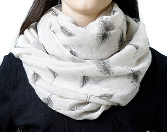 Infinity scarf, tube scarf, feather print scarf, snood, loop scarf, printed scarf, women's tube scarf, ladies scarf,