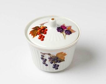 Vintage jam pot, retro container, retro conserve pot, berry jam pot, sugar pot, sugar bowl, storage pot, purple serving pot, jam container