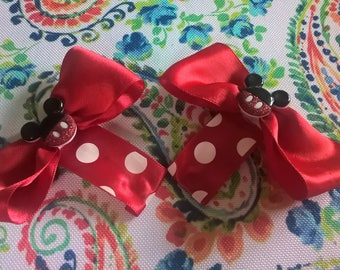 Red Mickey Mouse Bows on Clips