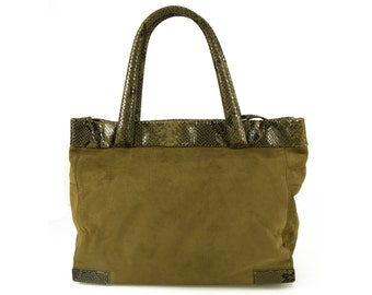 Max Mara Army Green Suede & Snake Skin Tote Shoulder Bag with long strap