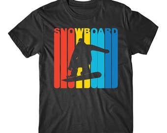 Retro 1970's Style Snowboarder Silhouette Snowboarding Shirt