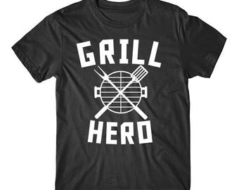 Grill Hero BBQ Barbeque Spatula And Fork Funny Grilling T-Shirt