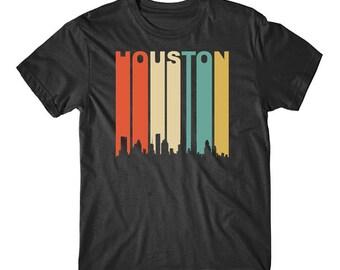 Vintage Retro 1970's Style Houston Texas Cityscape Downtown Skyline T-Shirt
