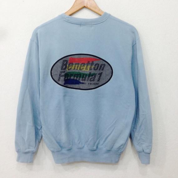 Rare!! Vintage BENETTON Sweatshirt Big Logo From Back Purple Colour Medium Size