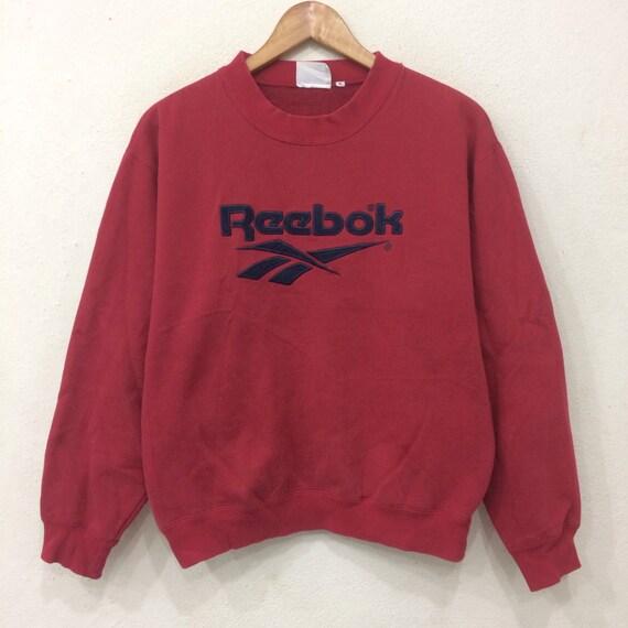 Rare!! Vintage REEBOK Big Logo Red Colour Large Size Sweatshirt