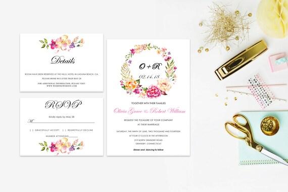 Floral wedding invite word_67,INSTANT DOWNLOAD, Editable Wedding template invitation. Microsoft Word template.Wedding Printable