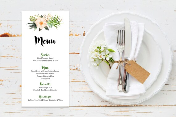 Menu word template_19,table menu, word template, weddings, editable menu card, napkin menu insert,calligraphy