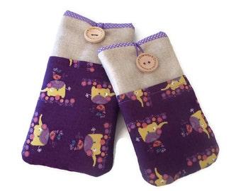 Elephants iPhone 7 Plus case, Cotton fabric iPhone 7 Pouch , iPhone SE case cover, iPhone 6 sleeve, iPhone 5 case, iPod Touch purse purple